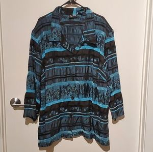 Blue and black maggie barns blouse